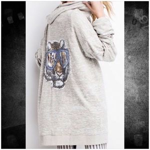 Super Soft n Cozy Iconic Tiger Zip Up Hoodie Top